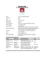 Curriculum vitae Dr. Uttam Kumar Mandal