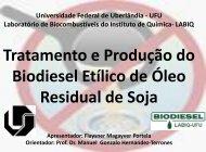 Tratamento e Produção do Biodiesel Etílico de Óleo Residual de Soja