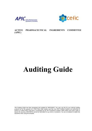 Auditing Guide - Active Pharmaceutical Ingredients Committee - Cefic