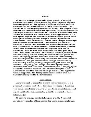 Abstract All bacteria undergo constant change or growth. A bacterial ...