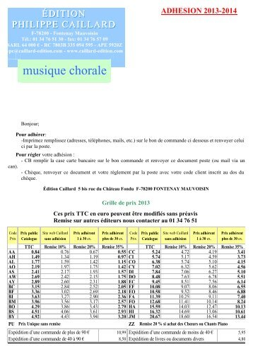 Documents adhérents 2013 - Edition Philippe Caillard
