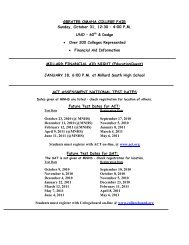 GREATER OMAHA COLLEGE FAIR Sunday, October 31, 12:30 – 4 ...