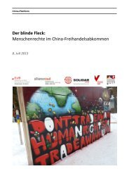 Der blinde Fleck: Menschenrechte im China-Freihandelsabkommen