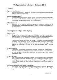 Vedligeholdelsesreglement for afdeling 72 Bentsens GÃ¥rd