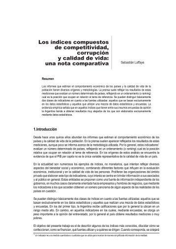 Los índices compuestos de competitividad, corrupción y calidad de ...