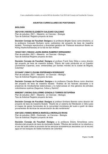 ASUNTOS CURRICULARES DE POSTGRADO BIOLOGÍA ...