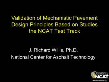 Validation of Mechanistic Pavement Design Principles Based on ...
