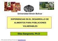 Experiencias en el desarrollo de alimentos para poblaciones ...