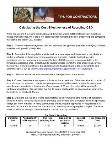 Calculating the Cost Effectiveness of Recycling C&D - NERC