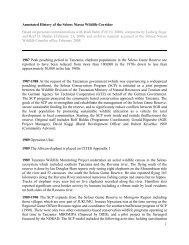Annotated History of the Selous Niassa Wildlife Corridor