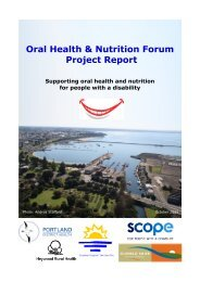 Oral Health & Nutrition Forum Project Report - South West Alliance ...