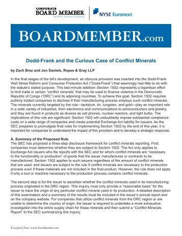 Dodd-Frank and the Curious Case of Conflict Minerals - Ropes & Gray