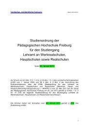 Studienordnung der Pädagogischen Hochschule Freiburg für den ...