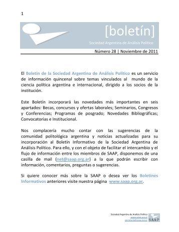 Noviembre - Sociedad Argentina de Análisis Político, SAAP