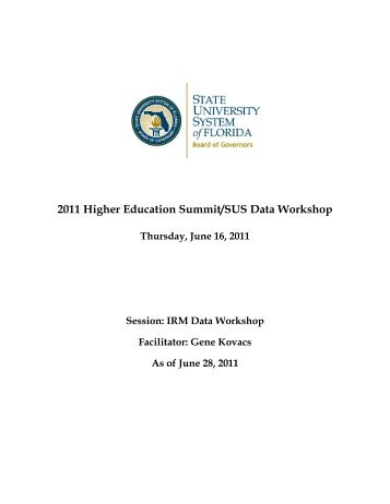 2011 Workshop Proceedings - Florida Board of Governors