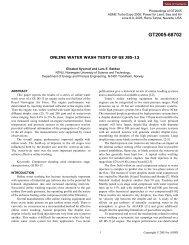 online water wash tests of ge j85-13 - Turbomachinery Laboratory