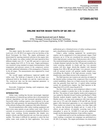 online water wash tests of ge j85-13 - Turbomachinery Laboratory
