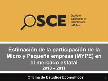 Estimación de la participación MYPE en el mercado estatal ... - Osce