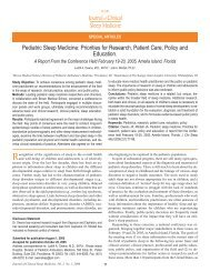 Pediatric Sleep Medicine: Priorities for Research, Patient Care ...