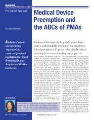 Medical Device Preemption and the ABCs of PMAs - DRI Today