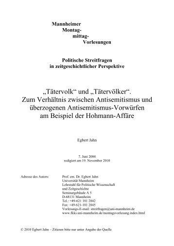 Mannheimer Montag- mittag- Vorlesungen Politische Streitfragen in ...