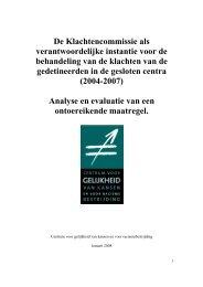 Rapport Klachten Commissie - Centrum voor gelijkheid van kansen ...