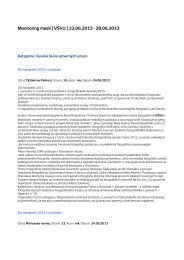 Monitoring médií 22. – 28. 6. 2013 - Vysoká škola výtvarných umení