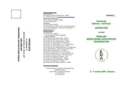 Karta zgłoszenia uczestnictwa - Wyższa Szkoła Ekologii i Zarządzania