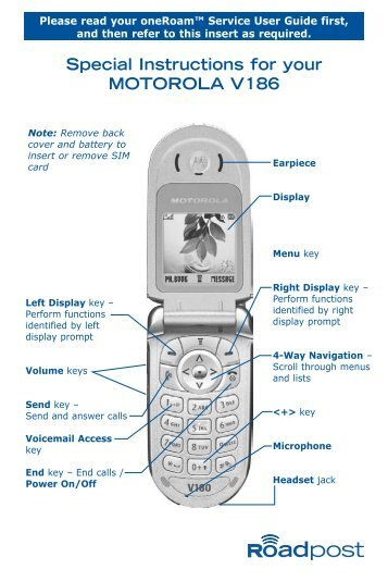 Special Instructions for your MOTOROLA V186 - Roadpost
