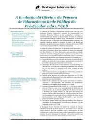A Evolução da Oferta e da Procura de Educação na Rede Pública ...