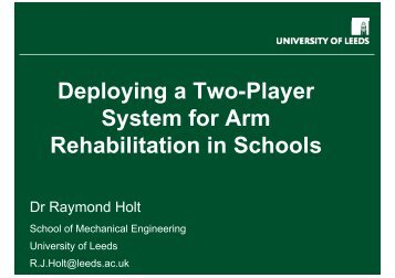 Deploying a Two-Player System for Arm Rehabilitation in ... - EDC