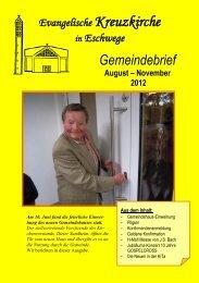 Evangelische Kreuzkirche in Eschwege Gemeindebrief August