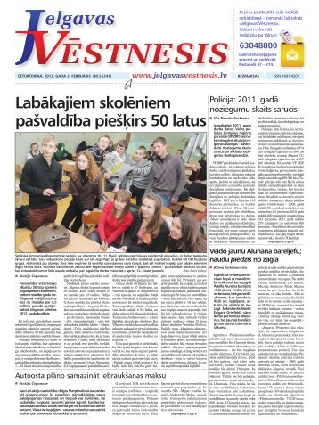 2012.gada 2.februāris Nr.5(241) - Jelgavas Vēstnesis