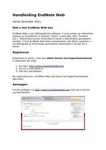 Handleiding EndNote Web