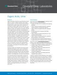 Organic Acids, Urine - Cleveland Clinic Laboratories > Home