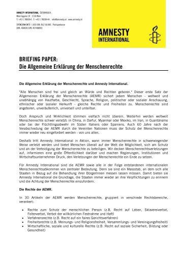 Hintergrundinfo - 60 Jahre AEMR - Amnesty International Österreich
