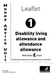 Disability living allowance and attendance allowance - Hertfordshire ...