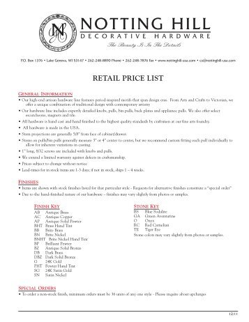 Notting Hill Catalog Item List