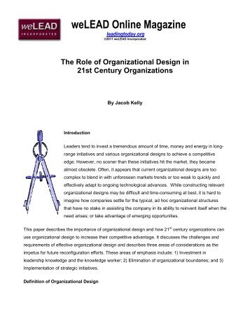 the role of organizations and organizational design Organizations, especially  leadership on organizational innovation and the role played by internal  transformational leadership and organizational innovation.