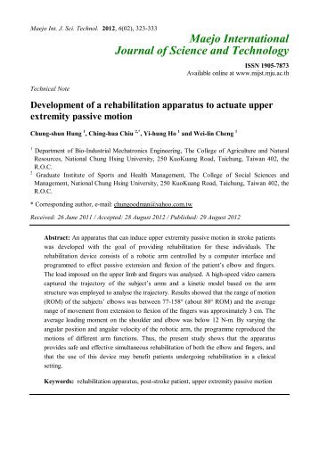 Development of a rehabilitation apparatus to actuate upper extremity ...