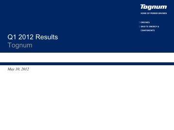 Q1 2012 results Tognum - Investoren