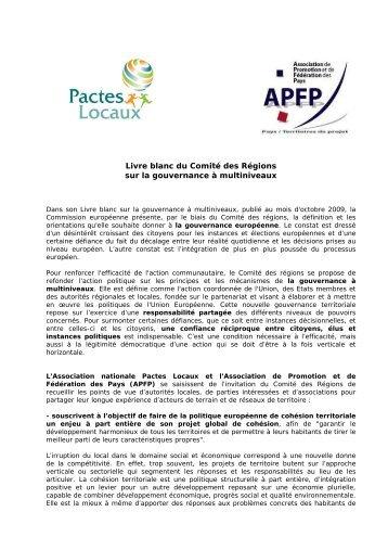 Livre blanc du Comité des Régions sur la ... - Pactes Locaux