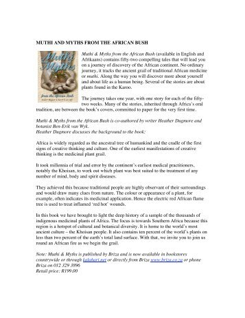 MUTHI AND MYTHS FROM THE AFRICAN BUSH Muthi & Myths ...