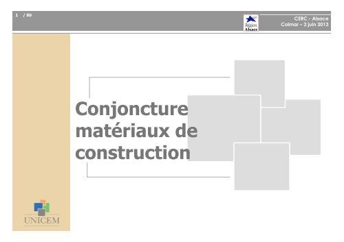 Conjoncture matériaux de construction - Cellule Économique du ...