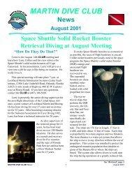 MARTIN DIVE CLUB News August 2001 - Lockheed Martin Dive Club