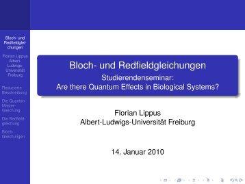Bloch- und Redfieldgleichungen - Albert-Ludwigs-Universität Freiburg