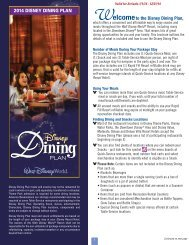 2014 Dining Plan - Walt Disney World