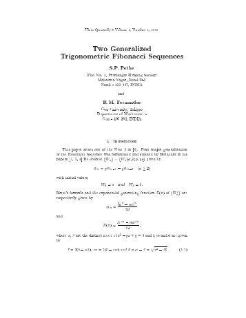 Two Generalized Trigonometric, Fibonacci Sequences S.P. Pethe