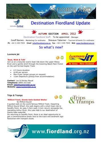 Autumn Newsletter - Destination Fiordland
