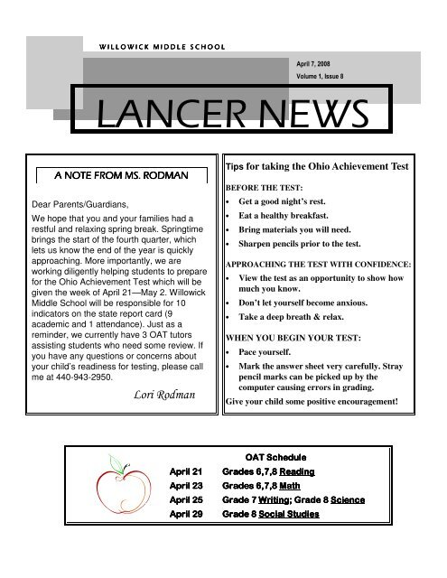 April 2008 Newsletter - Willoughby-Eastlake City Schools